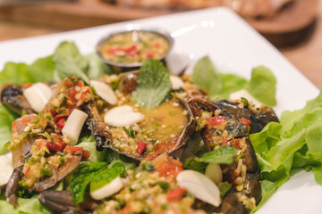 Spicy raw crab with healthy vegetable