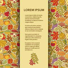 Flat poster or banner template with autumn pattern. Vector illustration.