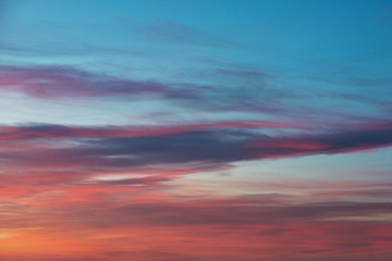 Beautiful blue sky with clouds at sunset time. Cloudy sky background.