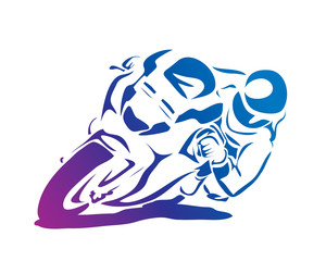 Modern Passionate Motorcycle Racer In Action Illustration
