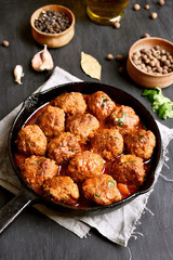 Meatballs in cast iron pan