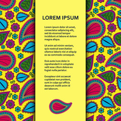 Flat poster or banner template with beautiful ornamental paisley. Vector illustration.