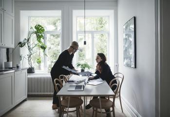 Women working in home office