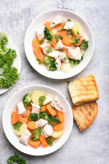 Diet chicken soup with carrot, broccoli, potato