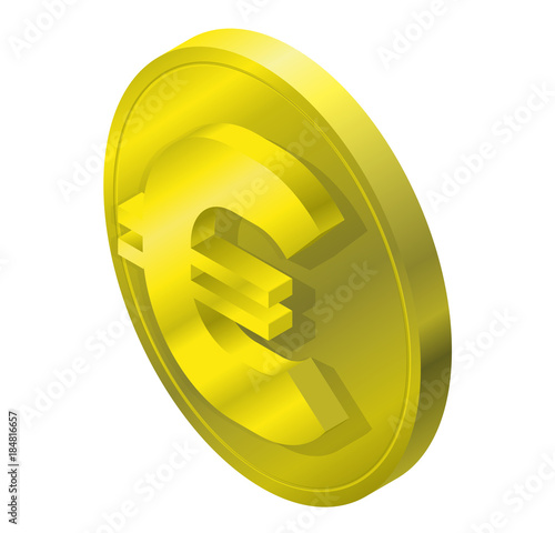 Euro Gold Coin Logo In Isometric Perspective Modern Symbol Of Piece