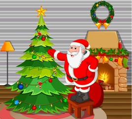 santa claus with christmas tree in living room and fire place