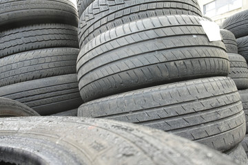 Car tyres close up