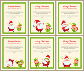 Set of Cards with Happy Santa and ridiculous Elf