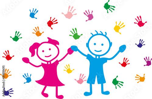 Mains d 39 enfants fichier vectoriel libre de droits sur la - Dessin main enfant ...