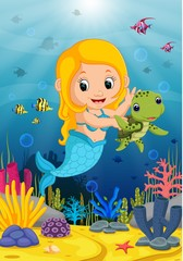 Cartoon mermaid underwater wtih turtle