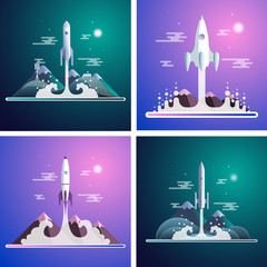 Flat illustration set with space rocket launch on background with mountains