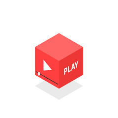 isometric red video player icon