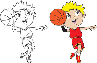 cartoon boy playing basketball.
