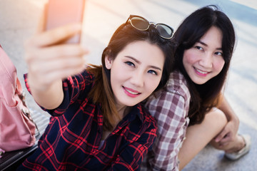 beautiful asian woman take selfie shot from smartphone with friends travel concept ideas