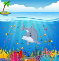 Keuken foto achterwand Onderzeeer Cartoon dolphin under the sea