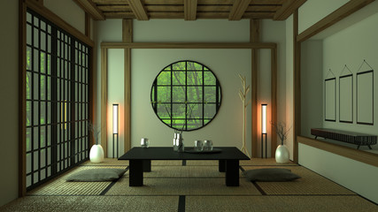 Room Design Japanese-style. 3D rendering