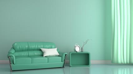 Modern room interior mint style. 3D rendering