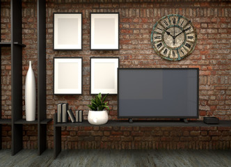 TV on the wall in Loft living room. 3d rendering
