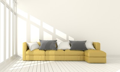Yellow fabric sofa on empty white wall background.3d rendering