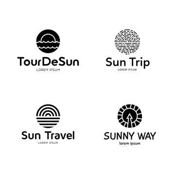 Sun And Sea Logo Design Template Set