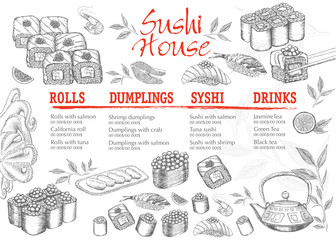 Menu hand drawn sushi illustration.