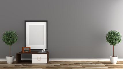 Empty room interior ,Black wall background on wooden floor. 3D rendering
