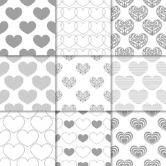 Collection of heart symbol as seamless pattern. Romantic gray and white backgrounds for paper and textile