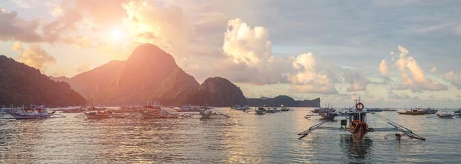 Bangka boat on El Nido in the evening, Philippines