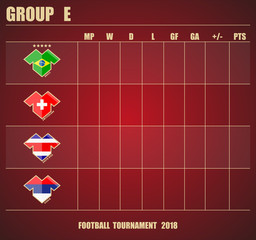 Vector illustration. Football / soccer tournament. Group stage of the championship, group E table of results. Sports T-shirt