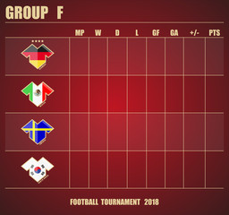 Vector illustration. Football / soccer tournament. Group stage of the championship, group F table of results. Sports T-shirt