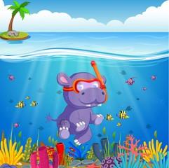 Hippo snorkeling in underwater sea