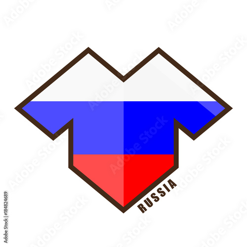 Vector illustration. Football tournament 2018. Flag of Russia. logo for the  summer soccer championship. Sports wear. T-shirt 4faf0be2c