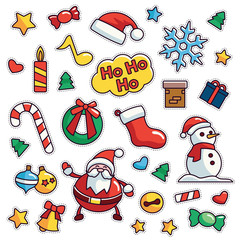 Vintage 80s-90s Merrry Christmas Fashion Cartoon Illustration Set Suitable for Badges, Pins, Sticker, Patches, Fabric, Denim, Embroidery and Other Fashion Related Purpose