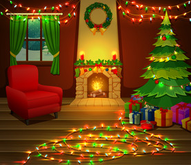 Christmas fireplace with xmas tree, presents and armchair