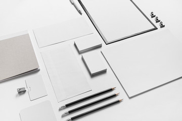 Branding stationery mockup on white paper background. Blank objects for placing your design.