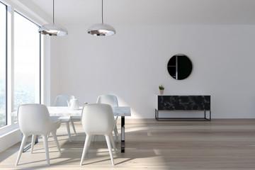 White dining room interior, marble closet