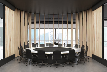 Round wooden meeting room
