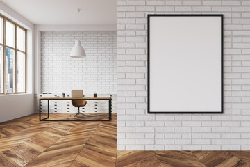 White brick CEO office interior, poster