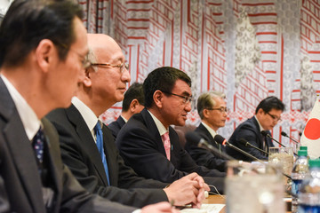 Japan's Minister of Foreign Affairs Taro Kono meets with Secretary of State Rex Tillerson to talk about North Korea's nuclear program at the United Nations headquarters in New York City