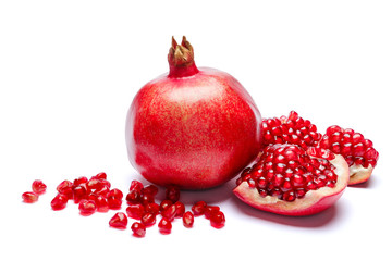 Pomegranate and seeds close-up