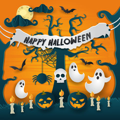 Scary Happy Halloween Paper Art Card Illustration
