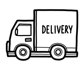 delivery van / cartoon vector and illustration, black and white, hand drawn, sketch style, isolated on white background.