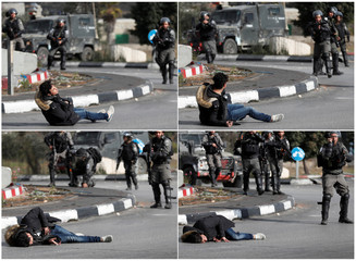 A combination picture shows a Palestinian man falling down after being shot by Israeli border policemen near the Jewish settlement of Beit El, near the West Bank city of Ramallah