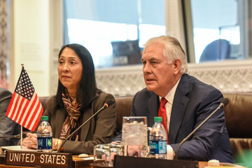 U.S. Secretary of State Rex Tillerson addresses Japan's Minister of Foreign Affairs Taro Kono about North Korea's nuclear program at the United Nations headquarters in New York City