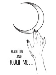 Female hand reaching out to the Moon isolated vector illustration. Black work, dot work, line art, flash tattoo, poster or print design