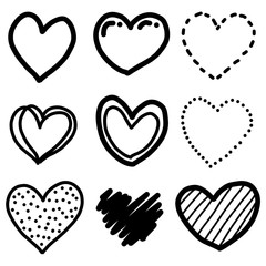 nine hearts / cartoon vector and illustration, black and white, hand drawn, sketch style, isolated on white background.
