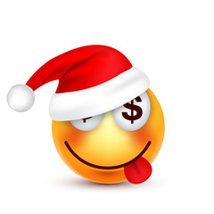 Smiley,emoticon. Yellow emoji, face with emotions and Christmas hat. New Year, Santa.Winter. Sad,happy,angry faces.Funny cartoon character.Mood. Vector.