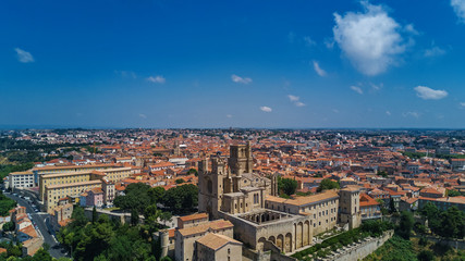 Aerial top view of Beziers town architecture and cathedral from above, South France