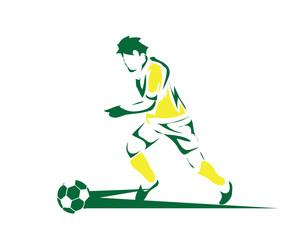 Modern Soccer Player In Action Illustration