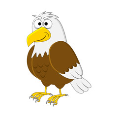 Funny cartoon eagle. Vector insect illustration. Cartoon bird. Isolated on white background.
